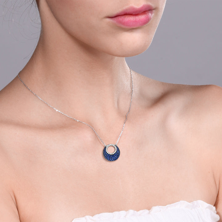 "925 Silver with Blue and White Created Sapphire Pendant on 18"" Silver Chain"