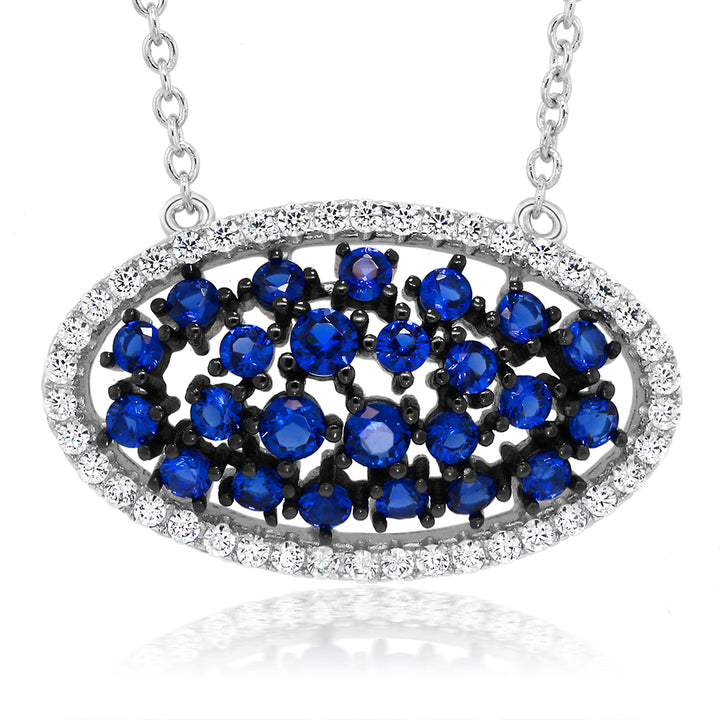Gem Stone King Sterling Silver Blue Created Sapphire & White CZ Pendant on 18 Inch Sterling Silver Chain