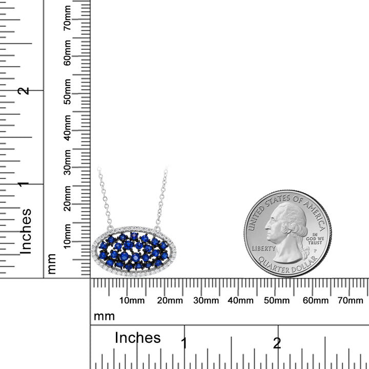 "925 Silver Blue Created Sapphire & White CZ Pendant on 18"" Silver Chain"