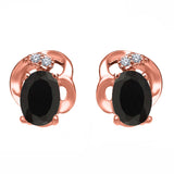 Gem Stone King 0.83 Ct Oval Black Onyx 18K Rose Gold Plated Silver Earrings