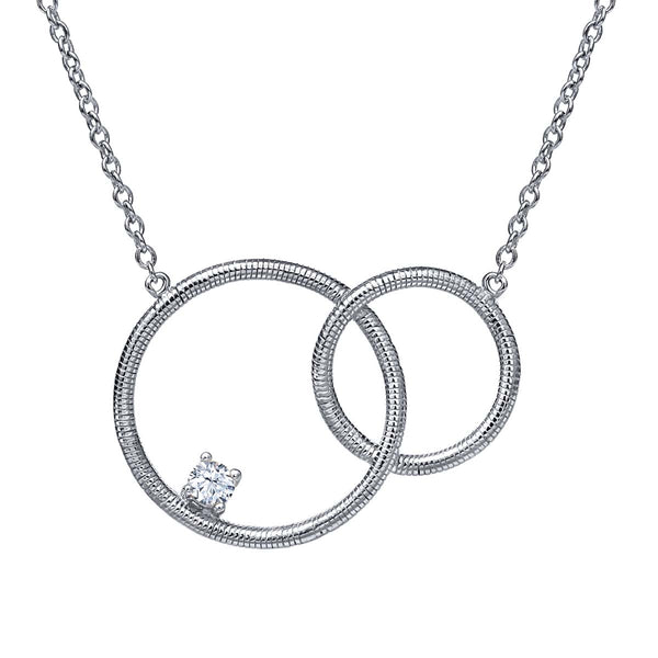 0.11 Ct Round White Zirconia 925 Sterling Silver Necklace