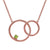 0.12 Ct Round Green Peridot 18K Rose Gold Plated Silver Necklace