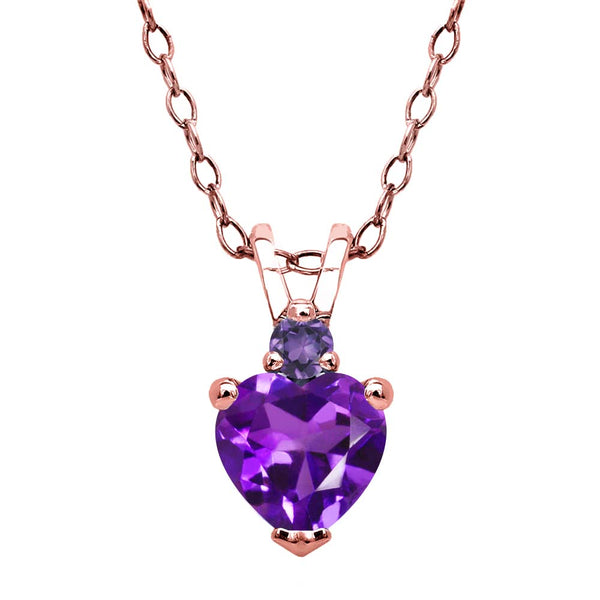 0.44 Ct Heart Shape Purple Amethyst 18K Rose Gold Plated Silver Pendant