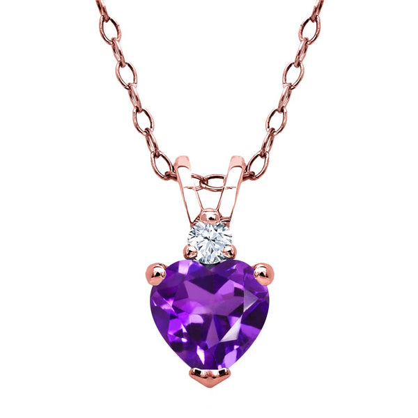 0.44 Ct Amethyst White Created Sapphire 18K Rose Gold Plated Silver Pendant