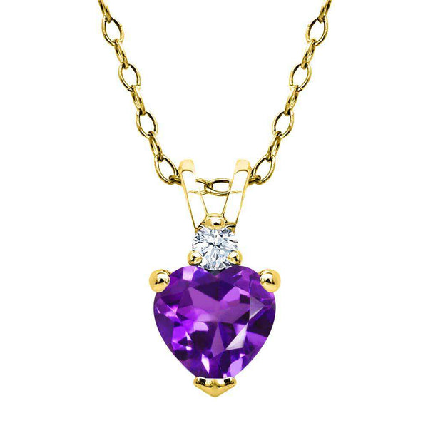 0.44 Ct Amethyst White Created Sapphire 18K Yellow Gold Plated Silver Pendant