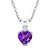0.44 Ct Heart Shape Purple Amethyst White Topaz 925 Sterling Silver Pendant