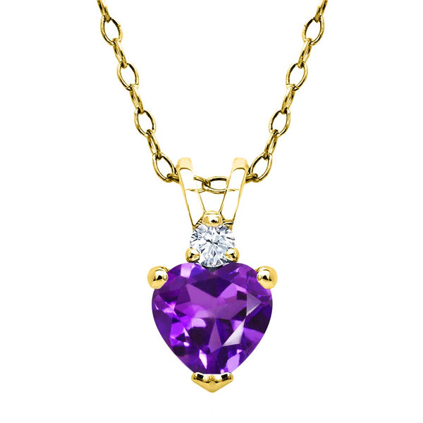0.44 Ct Purple Amethyst White Topaz 18K Yellow Gold Plated Silver Pendant