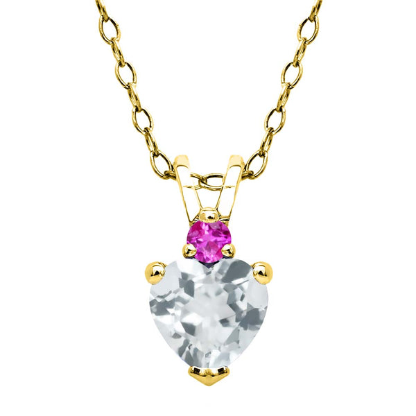 0.43 Ct Sky Blue Aquamarine Pink Sapphire 18K Yellow Gold Plated Silver Pendant