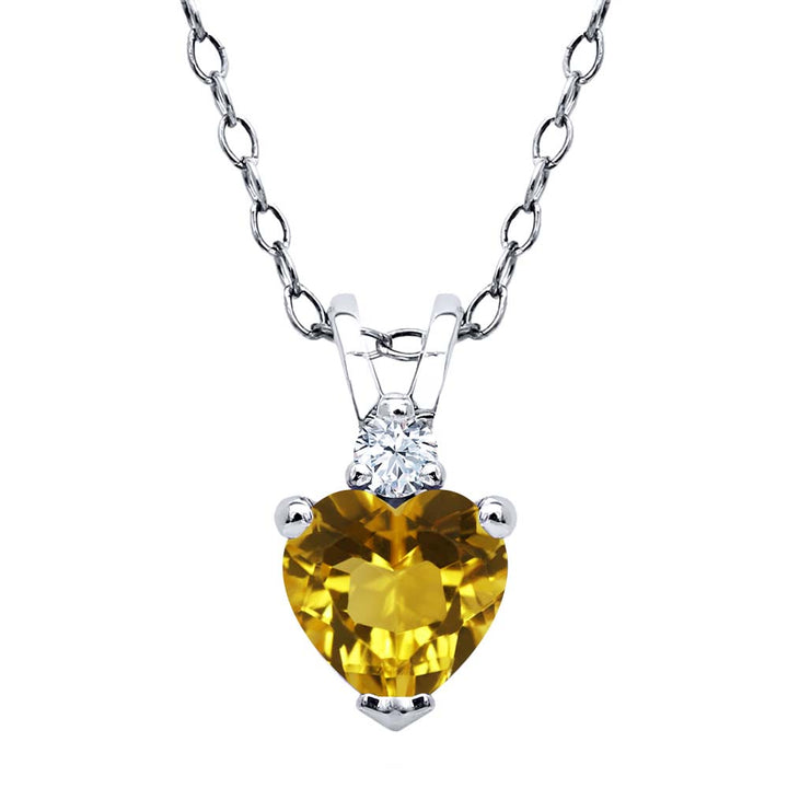 Gem Stone King 0.49 Ct Heart Shape Yellow Citrine 925 Sterling Silver Pendant