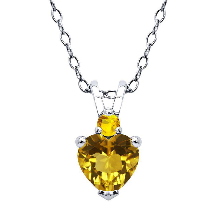 Gem Stone King 0.51 Ct Heart Shape Yellow Citrine Yellow Sapphire 925 Sterling Silver Pendant