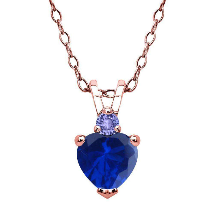 Gem Stone King 0.65 Ct Blue Simulated Sapphire Blue Tanzanite 18K Rose Gold Plated Silver Pendant