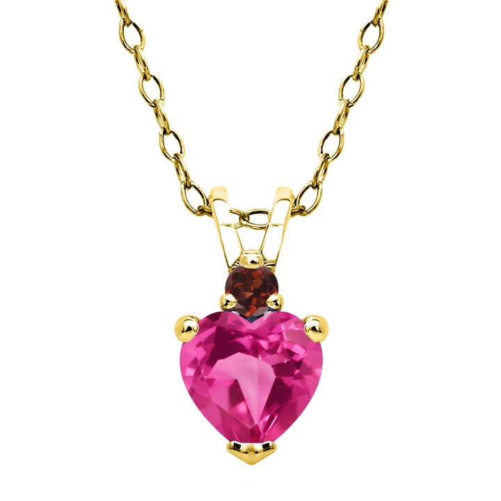 Gem Stone King 0.64 Ct Pink Created Sapphire Red Garnet 18K Yellow Gold Plated Silver Pendant