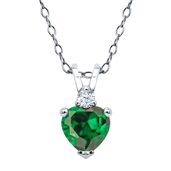Gem Stone King 1.03 Ct Heart Shape Green Zirconia 925 Sterling Silver Pendant