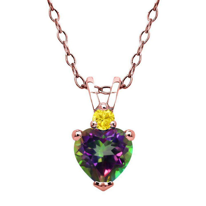 Gem Stone King 0.65 Ct Green Mystic Topaz Yellow Created Sapphire 18K Rose Gold Plated Silver Pendant