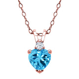 Gem Stone King 0.59 Ct Swiss Blue Topaz 18K Rose Gold Plated Silver Pendant