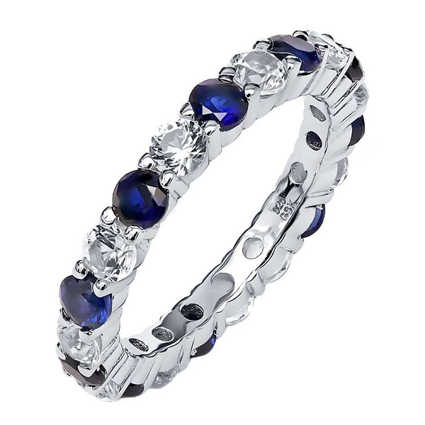 2.20 Ctw Blue & White Created Sapphire 925 Sterling Silver Eternity Ring
