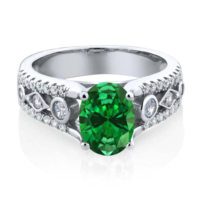 2.66 Ct  Green Simulated Emerald 925 Sterling Silver Engagement Ring