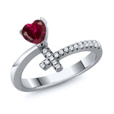 Gem Stone King 0.77 Ct Heart Shape Red Created Ruby 925 Sterling Silver Cross Ring