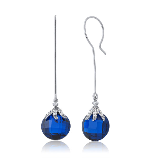 22.00 Ctw Simulated Blue Sapphire 925 Sterling Silver Dangle Earrings For Women