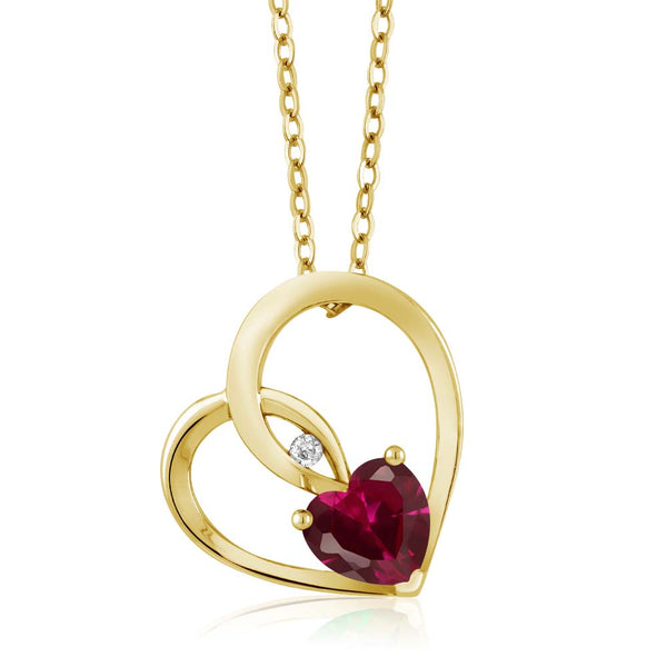 Gem Stone King 0.98 Ct Red Created Ruby White Diamond 18K Yellow Gold Plated Silver Heart Pendant
