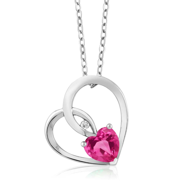 Gem Stone King 0.82 Ct Pink Created Sapphire White Diamond 925 Sterling Silver Heart Pendant