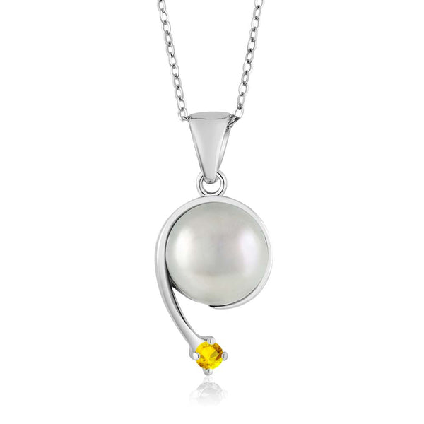 Yellow Sapphire Cultured Freshwater Pearl 925 Silver Shooting Star Pendant