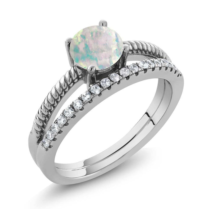 Gem Stone King 0.49 Ct Round Cabochon White Simulated Opal 925 Sterling Silver Ring