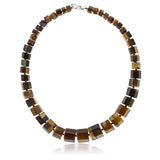 "Gorgeous 18""  Octagon Cut Tiger Eye Necklace With Lobster Clasp"