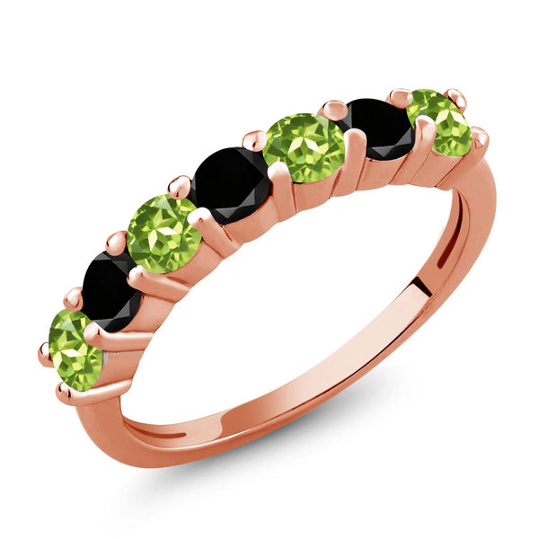 Gem Stone King 1.23 Ct Round Green Peridot Black Diamond 18K Rose Gold Plated Silver Anniversary Ring