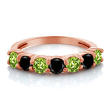 1.23 Ct Round Green Peridot Black Diamond 18K Rose Gold Plated Silver Ring
