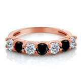 1.11 Ct Round G/H Diamond Black Diamond 18K Rose Gold Plated Silver Ring