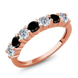 Gem Stone King 1.11 Ct Round G/H Diamond Black Diamond 18K Rose Gold Plated Silver Anniversary Ring
