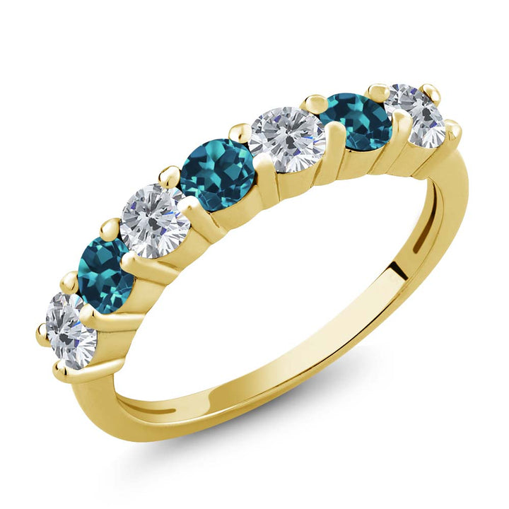 Gem Stone King 1.20 Ct Round G/H Diamond London Blue Topaz 18K Yellow Gold Plated Silver Anniversary Ring