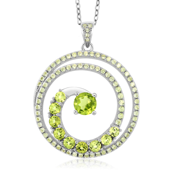60.00 Cttw 925 Sterling Silver Peridot Twister Spiral Circle Pendant 18""