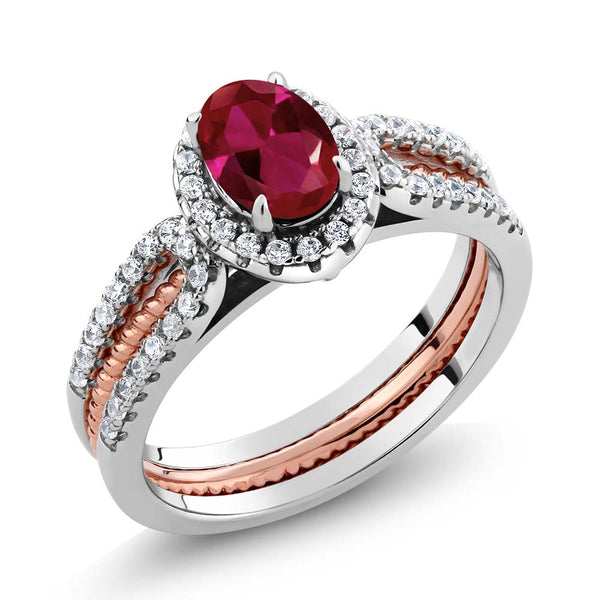 1.52 Ct Oval Created Ruby 925 Two-Tone Sterling Silver Wedding Band Insert Ring