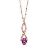 Gem Stone King 1.08 Ct Oval Pink Tourmaline AA 18K Rose Gold Plated Silver Infinity Pendant