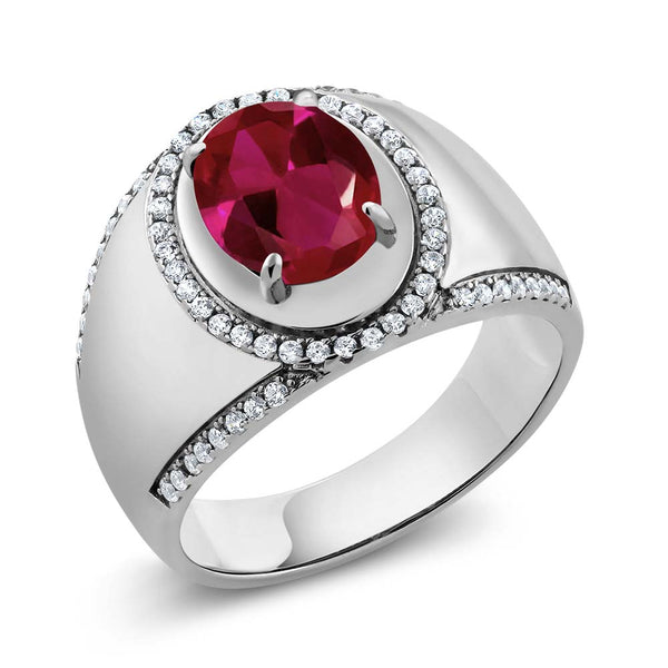 3.29 Ct Oval Red Created Ruby 925 Sterling Silver Men's Ring