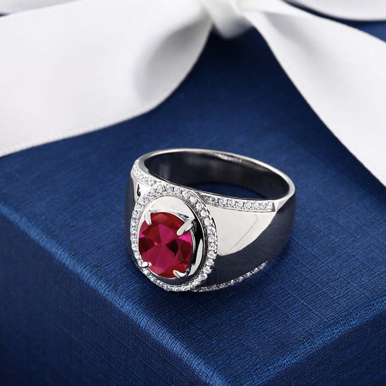 2.00 Ct Oval Red VS Created Ruby 925 Sterling Silver Men/'s Solitaire Ring