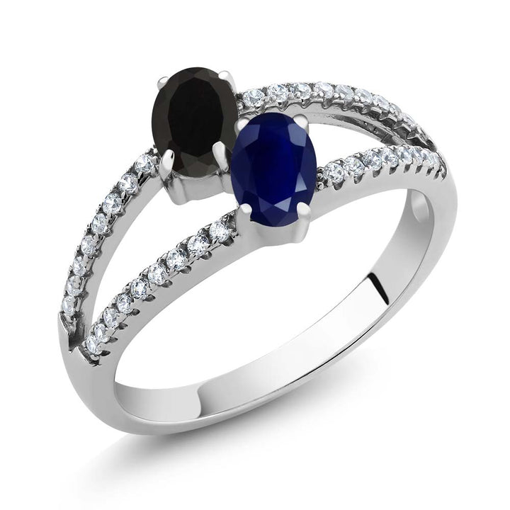 Gem Stone King 1.35 Ct Oval Black Onyx Blue Sapphire Two Stone 925 Sterling Silver Ring