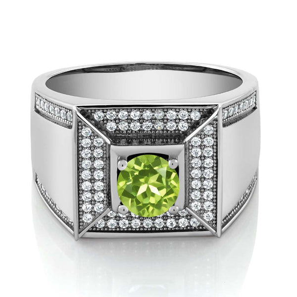 1.95 Ct Round Green Peridot 925 Sterling Silver Men's Ring
