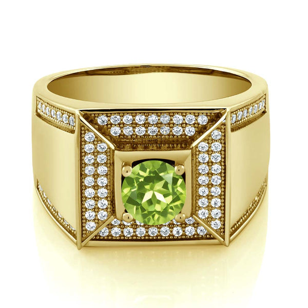1.95 Ct Round Green Peridot 18K Yellow Gold Plated Silver Men's Ring