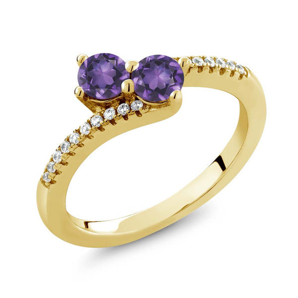 0.72 Ct Round Purple Amethyst Two Stone 18K Yellow Gold Plated Silver Bypass Ring