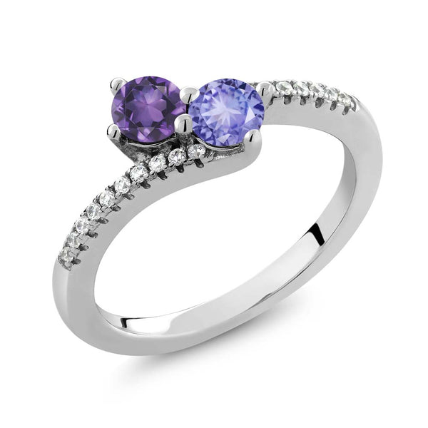 0.78 Ct Round Purple Amethyst Blue Tanzanite Two Stone 925 Sterling Silver Bypass Ring