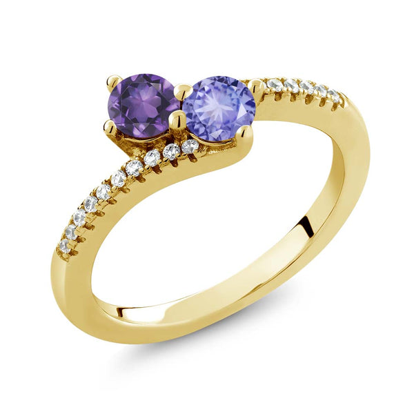 0.78 Ct Amethyst Blue Tanzanite Two Stone 18K Yellow Gold Plated Silver Bypass Ring
