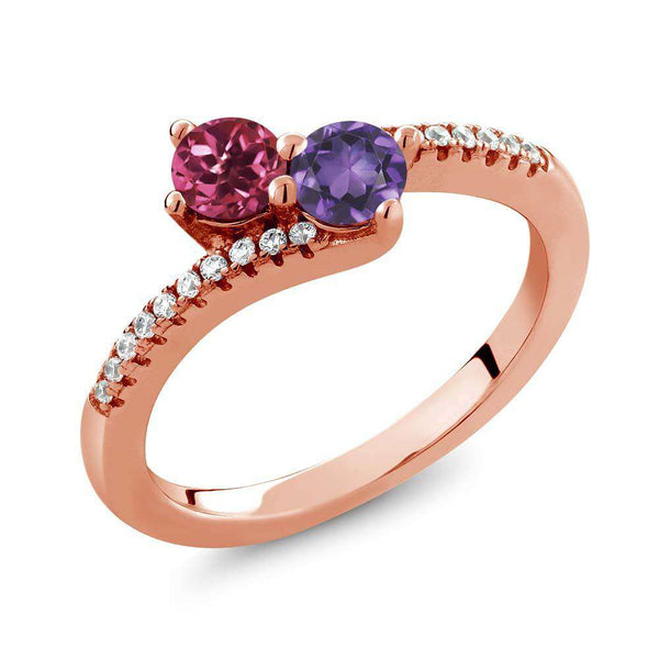 0.72 Ct Pink Tourmaline Amethyst Two Stone 18K Rose Gold Plated Silver Bypass Ring
