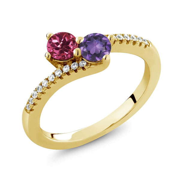 0.72 Ct Pink Tourmaline Amethyst Two Stone 18K Yellow Gold Plated Silver Bypass Ring