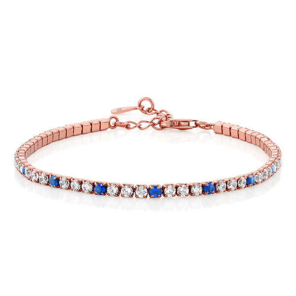 925 Silver Simulated White Blue Sapphire Rose Gold Plated Tennis Bracelet 7""