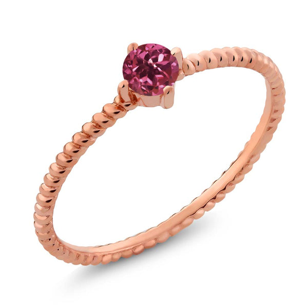 10K Solid Rose Gold 0.15 Ct Round Pink Tourmaline Engagement Solitaire Ring