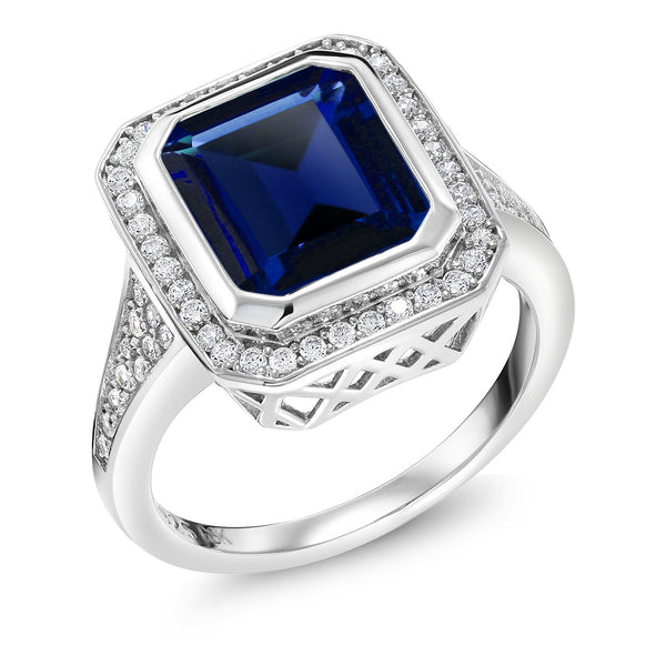 5.00 Ct Vintage Women's 925 Sterling Silver Octagon Cut Simulated Sapphire Ring