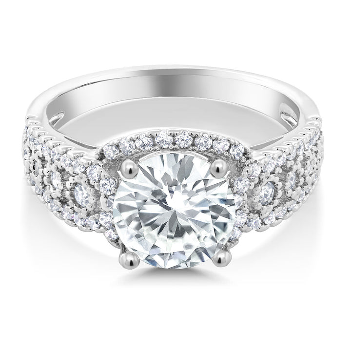 Gem Stone King 3.50 Ct Vintage Round White Zirconia Engagement Ring (Available 7,8)